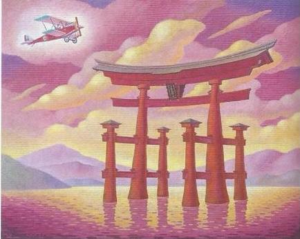 Dipinto di un biplano SVA 9 che vola sopra ad un tori giapponese