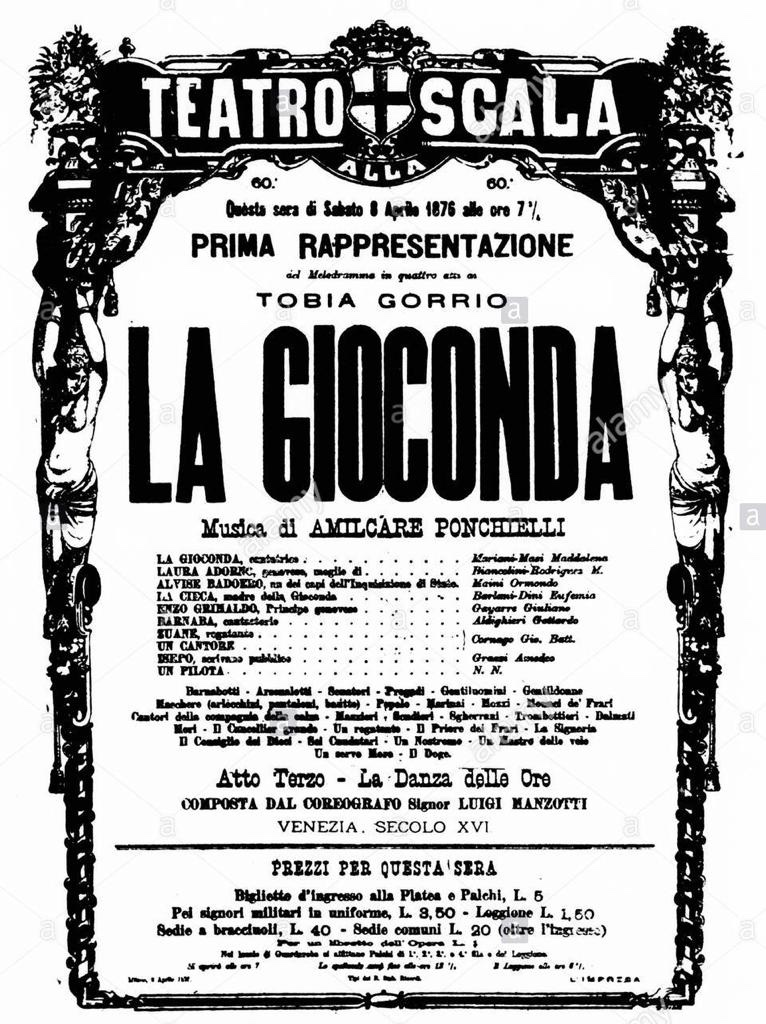 Antica locandina della Gioconda. Testo nero su carta bianca con vecchio logo della Scala con colonne e cariatidi. Oltre al titolo, attori e ruoli. La data è quella dell otto aprile 1876