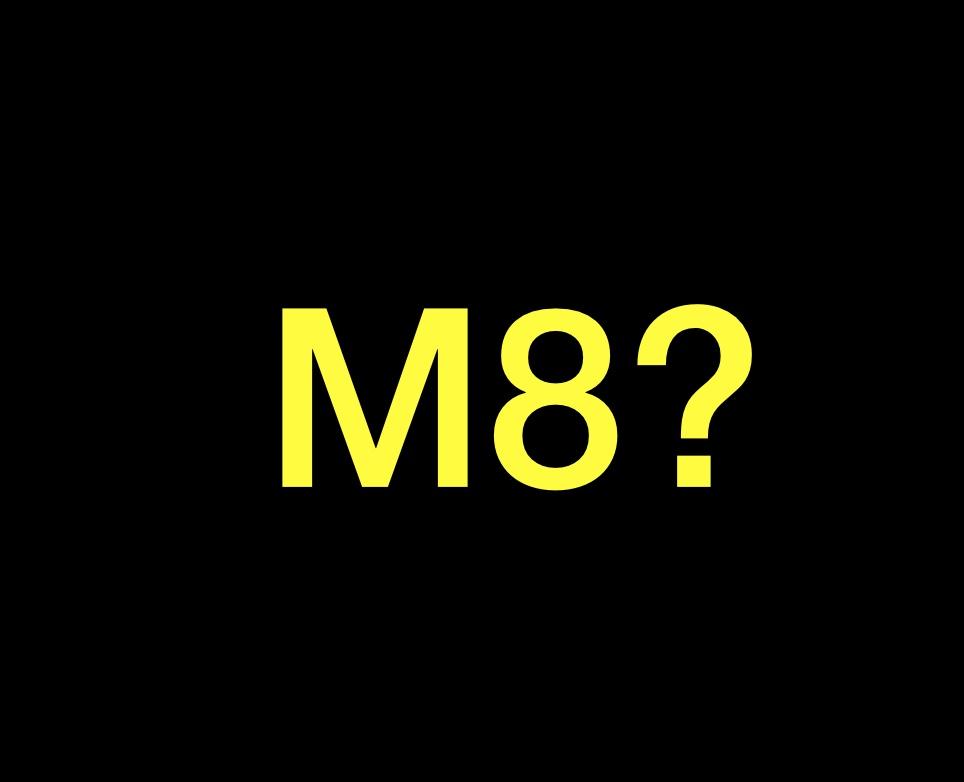 Su sfondo nero è composta in giallo a caratteri grandi la scritta emme otto punto di domanda