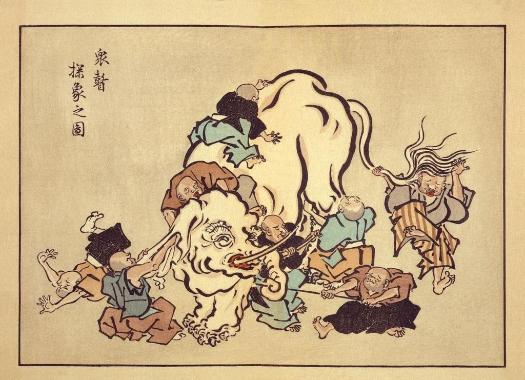 Foto di un ukiyoe in cui dei monaci non vedenti toccano un elefante